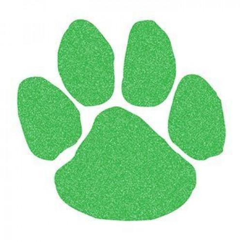 Green Glitter Paw Print Temporary Tattoo